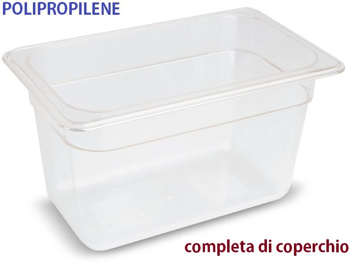 VASCA POLIPROP.c/cop. GN 1/4x20h|Novalberghiera